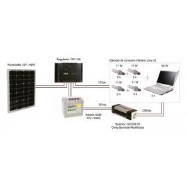 Kit Fotovoltáico Autónomo nº 4 (45Wp) con Inversor a 230VAC