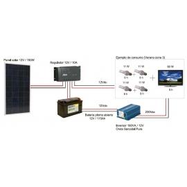 Kit Fotovoltáico Autónomo nº 5.5 (150Wp) con inversor a 230VAC