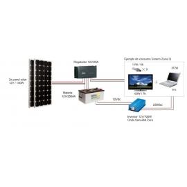 Kit Fotovoltáico Autónomo nº 6.5 (300Wp) con inversor a 230VAC