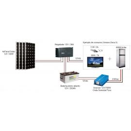 Kit Fotovoltáico Autónomo nº 7 (400Wp) con inversor a 230VAC