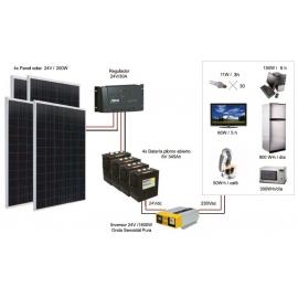 Kit Fotovoltáico Autónomo nº 8.5 (800Wp) con inversor a 230VAC