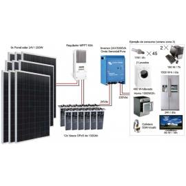 Kit Fotovoltáico Autónomo nº 10 (1800Wp) con inversor a 230VAC